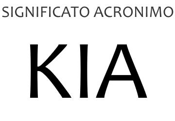 Significato acronimo KIA