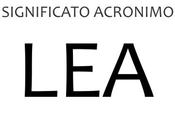 Significato acronimo LEA
