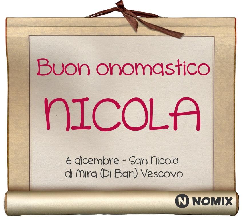 San Nicola Calendario.Onomastico Del Nome Nicola